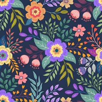 カラフルな手描きのシームレスな花柄の背景。シームレスな花柄のベクトルイラスト。