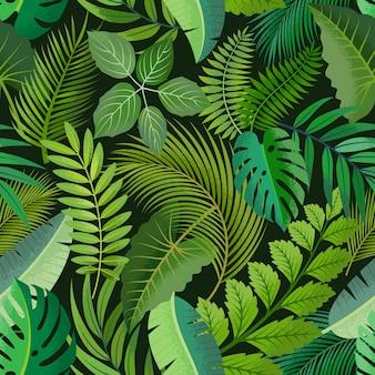暗い背景に緑のヤシと熱帯のシームレスパターンを残します。