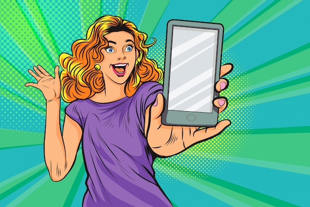 Удивленная женщина с смартфоном в поп-арт