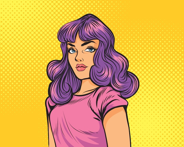 Девушка с фиолетовыми волосами над желтым