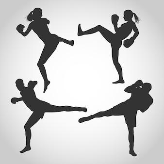男性と女性のキックボクシングシルエット