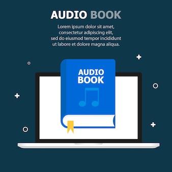 オーディオブックの青い本はコンピューター画面のテンプレートに描かれています