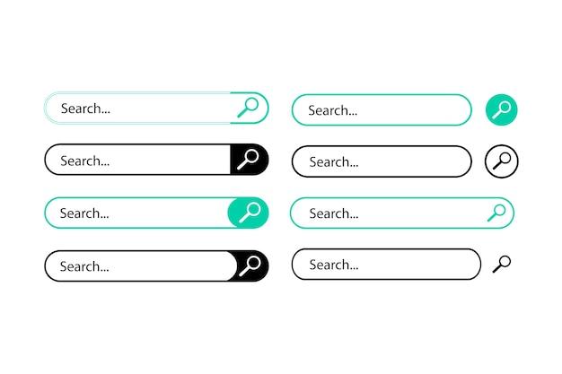 さまざまな形や色の検索アイテムが白で描かれています