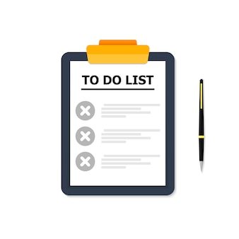 Синяя табличка со списком дел на белом