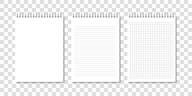 Три реалистичных блокнота, один в клетке, другой и еще одна строчка простые, изображены на прозрачном фоне.