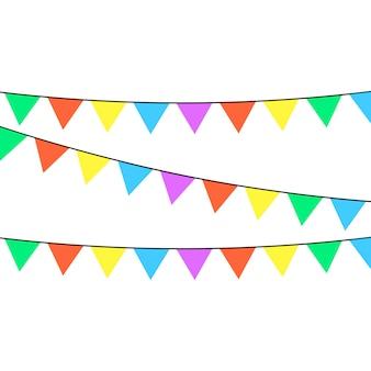 さまざまな色の色合いがたくさんあるホリデーリボンが白い背景に描かれています。