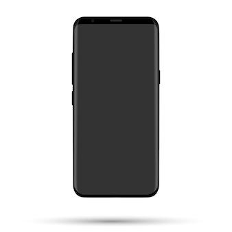 白い背景の上の現実的な電話。リアルな黒の物体
