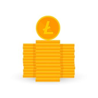 Криптовалюта - это копейки золотого цвета на белом