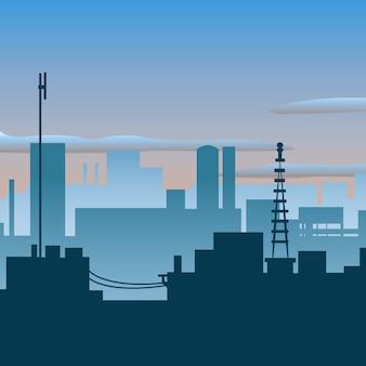 都市のスカイラインの背景
