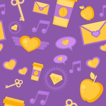 黄金の要素を持つ紫色の背景