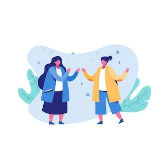 Плоская иллюстрация две подруги наслаждаются разговором на белом