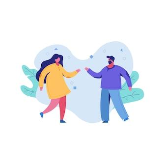 Пара людей, мужчина и женщина, разговор