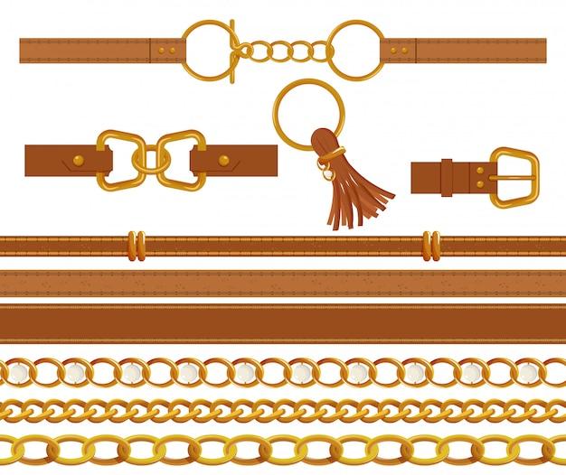 Набор золотых цепочек и коричневых кожаных ремней.