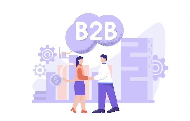 成功したビジネス人々コラボレーションフラットイラスト