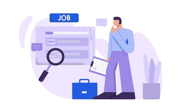 男性の求職者は、インターネットのウェブサイトフラットイラストで仕事を見つける
