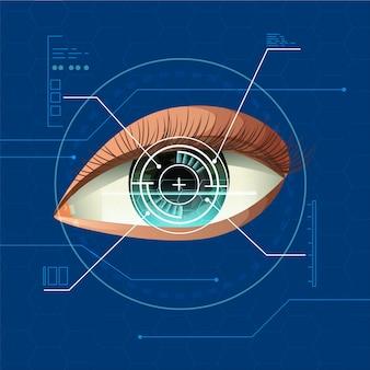 青いインフォグラフィック背景で未来の現実的な人間の目のスキャンデジタル技術