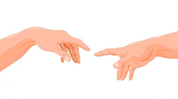 アダムと神の手指グラフィック漫画イラストに触れる