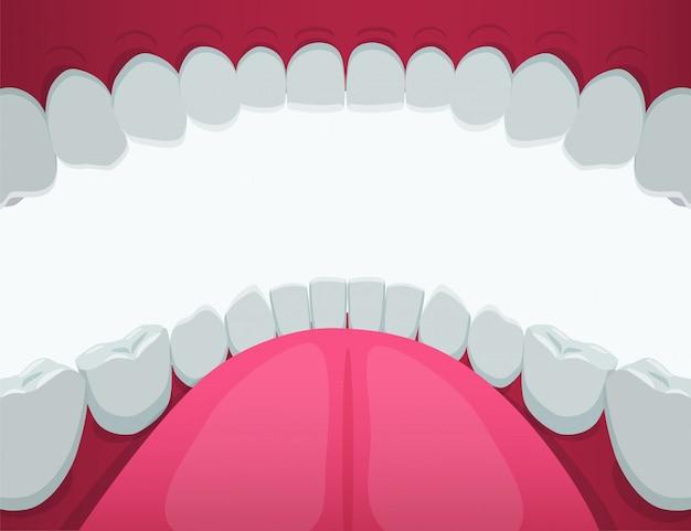 漫画の人間の口の白い歯グラフィックイラスト内を表示します。