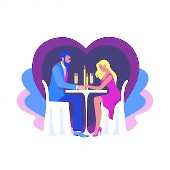 Мультяшный мужчина и женщина, наслаждаясь романтической парой ужин, празднование дня святого валентина