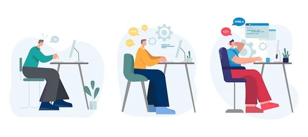 Набор различных мужчин мультфильм программист, работающий на компьютере на рабочем месте