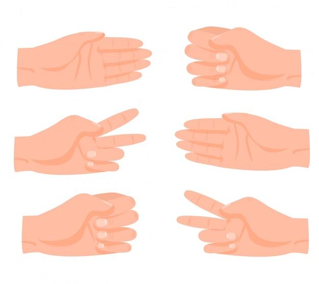 Мультяшная человеческая рука, рок, ножницы, бумажные игровые жесты, набор иллюстраций