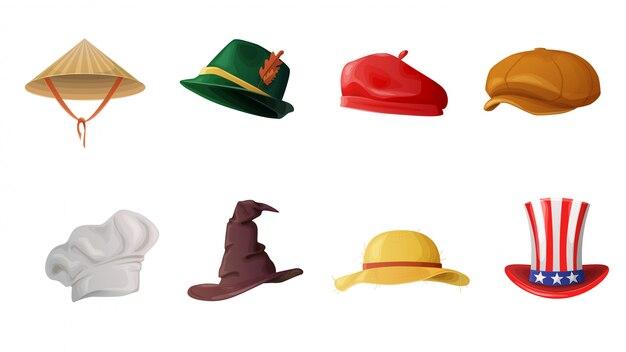 白い背景で隔離の漫画帽子カーニバル衣装キャラクターを設定します。