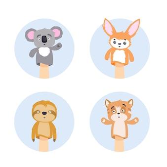 Набор марионеток животных в круг раме плоской иллюстрации