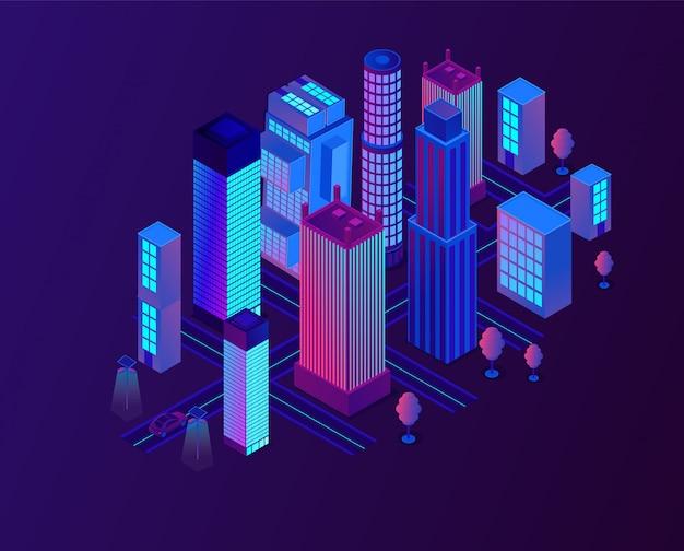 Футуристический неоновый город с высоким зданием.
