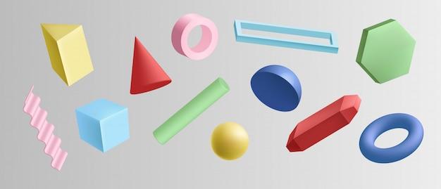 Набор красочных геометрических фигур на белом фоне