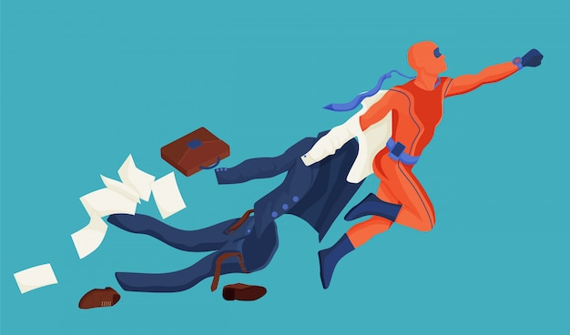 漫画のサラリーマンがスーツを脱いで飛んで行く夢に行くスーパーヒーローのイラスト