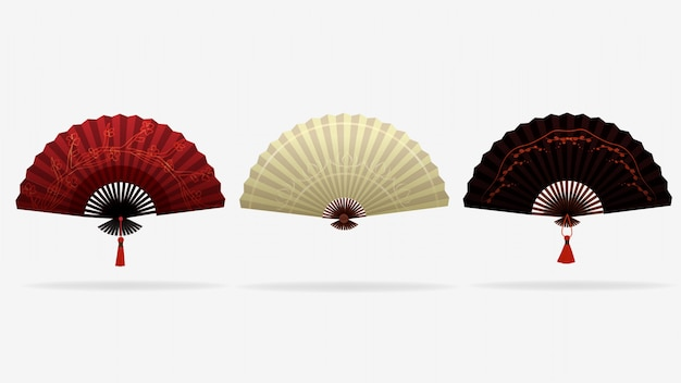 アジアのエレガントなファン。赤、白、黒の色で中国、日本の美しいスタイル