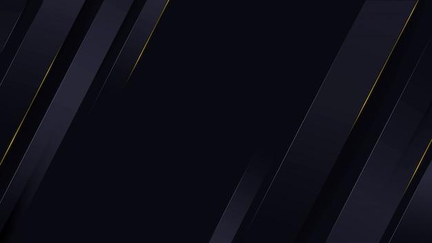金色の線で黒と青の背景に多角形の抽象的なブロック。