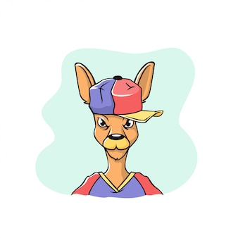 野球帽の面白いケグル顔。イラストは漫画風に作られています