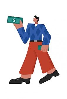 お金の払い戻しの大きな手足スタイルのキャッシュバックのパックを保持している成功したカジュアルな漫画男性