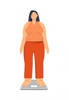 Женщина страдает ожирением на весах. концепция лишних килограммов