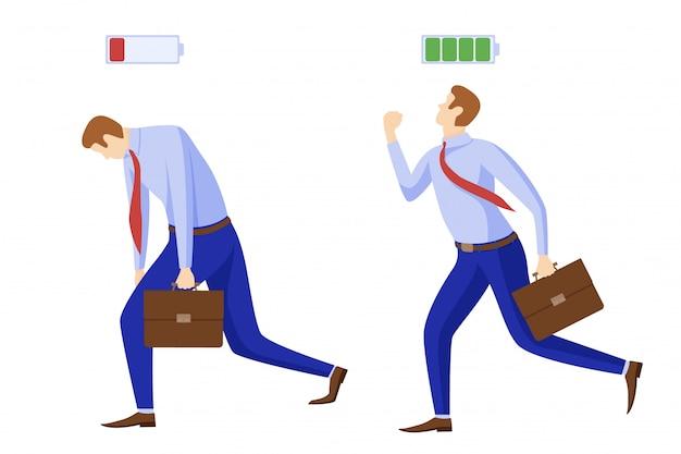 Устал энергичный бизнесмен с символом батареи. сначала заряжается на работу, а затем разряжается.