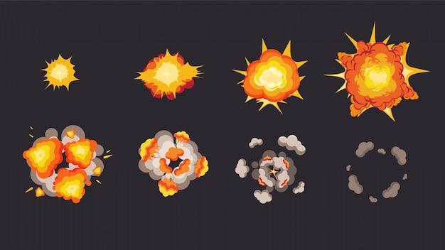 Анимация взрыва в раскадровке. энергия детонирующих взрывчатых веществ с последующими фазами.