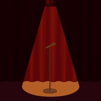 Мультяшный микрофон на пустой сцене в окружении прожекторов свет графическая иллюстрация