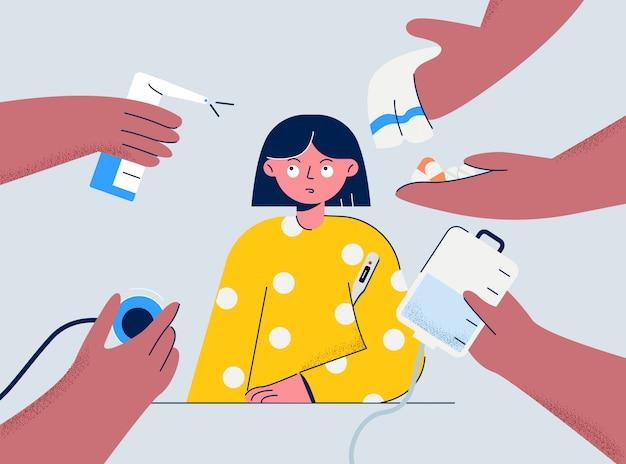 Лечение больной карантинной девочки. девушка желтой пижамы с температурой предлагает различные виды лечения короновируса.