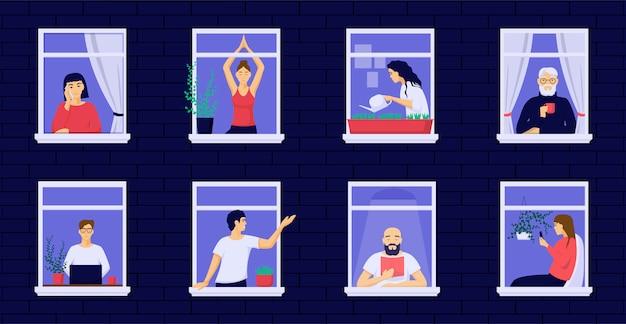 Оставайтесь дома, люди самостоятельно утешаются. люди живут в карантине открытыми окнами.
