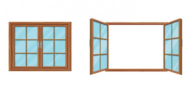Деревянный шаблон окна закрыт и открыт. современная деревянная сетка окна с двумя раздвижными дверями.