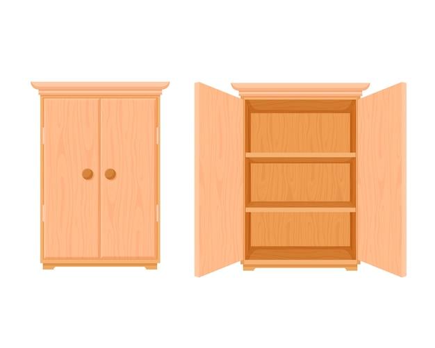ワードローブの木製テンプレートを開閉します。モダンな木製のスタイリッシュな食器棚のスタイリッシュなデザイン。