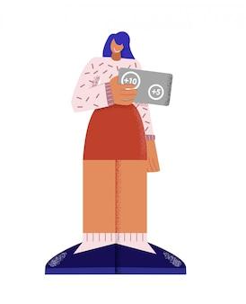 Улыбаясь мультяшный девушка держит дисконтную карту с номерами для программы лояльности плоской иллюстрации