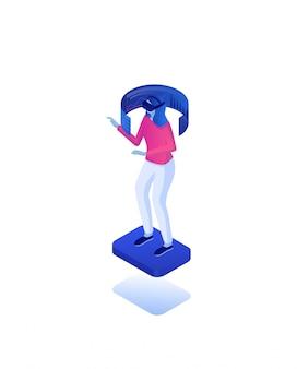 Веб-статистика с использованием виртуальной реальности изометрической концепции. технологии онлайн-стратегии аналитические.