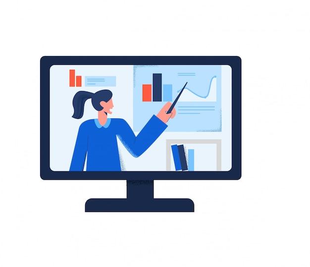Онлайн-трансляция вебинара, видео-тренинга по интернет-образованию на мониторе компьютера, изолированного на белом