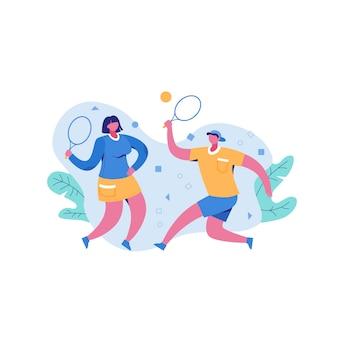 Активный мужчина и женщина, играть в волейбол на открытом воздухе, держа ракетки, наслаждаясь физической активности