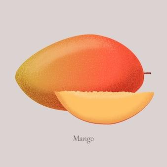 Логотип манго, экзотический сочный фрукт целиком и наполовину.