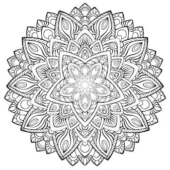 ヘナ、一時的な刺青、タトゥー、装飾のための円形の曼荼羅。エスニックオリエンタルスタイルの装飾的な飾り。ぬりえ帳ページ。