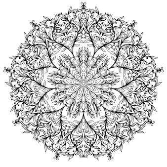 Цветочная мандала вектор. цветочный круговой орнамент, черно-белый рисунок, каракули раскраски