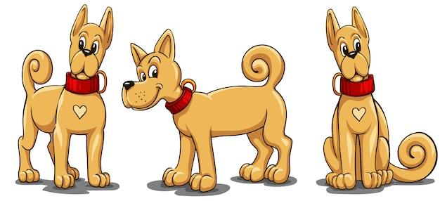 漫画のスタイルの赤い襟付きの小さな赤い犬